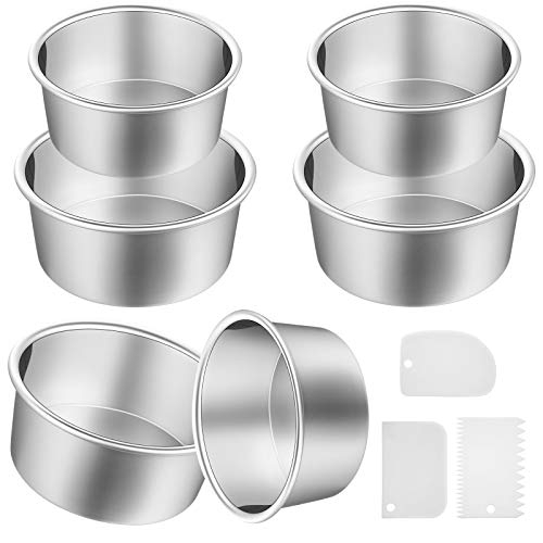 9 Pieces Cake Pan Set Including 6 Pieces Aluminum Baking Cake Pans Round Cake Pans 3 Pieces Dough Scrapers Non-stick Cheesecake Baking Pans for Party Supplies (Silver Pans, 4/ 6 Inch)