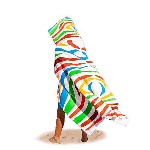 Premium Kids Hooded Beach Towel Bath Towel - Wonderfully Soft 100% Cotton, Super Thick, Absorbent & Magnificently Large, Zebra Pattern Poncho for Toddlers Girls Boys Baby & Travel Drawstring Backpack