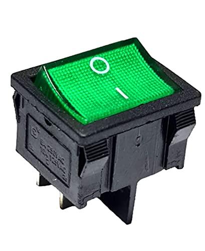 Interruptor basculante verde basculante 4 pines, 6 A, 250 V CA, 24 x 21 mm, iluminado