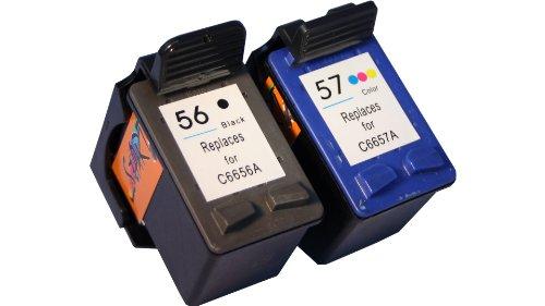 Start Ensemble de 2 cartouches d'encre compatibles HP 56 noir + HP 57 couleurs et C6656A + C6657A pour imprimantes tout-en-un HP PSC 1205, PSC 1210, PSC 1215, PSC 1315, PSC 1350, PSC 2105, PSC 2110, PSC 2175, PSC 2210, PSC 2410, PSC 2510 Mise en place immédiate de la cartouche d'encre, pas d'étiquette à puce, indicateur de niveau en parfait état, couleurs de qualité.