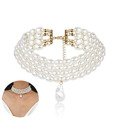 Daimay Gargantillas de Perlas simuladas Collar de Perlas Multicapa Declaración de Perlas de múltiples Hilos Nupcial para Joyería de Fiesta de Bodas Flapper de los años 20 para Fiesta
