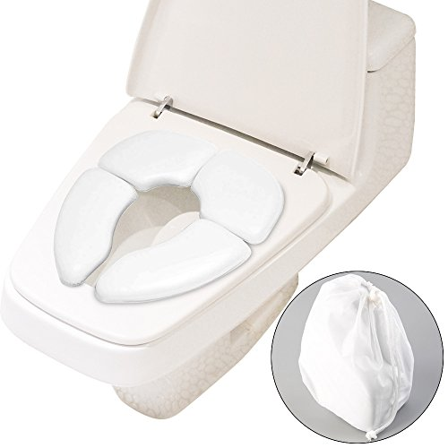 Soriace® Faltbar Toilettentrainer für Kinder, Tragbar Hautfreundlich & Rutschfest Reise Toilettensitz WC-Sitz mit Tragetasche Passt auf jede Standard-Toilette