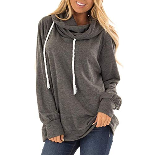 LILIHOT Damen Hoodie Klassisch Kapuzenpullover Sweatshirt mit Kaputze Lang Pullover Tunika Langarm Sweat Pulli Modisch Pullover