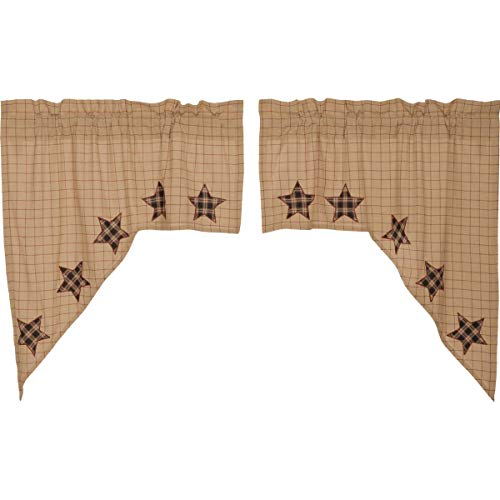 VHC Brands Bingham Star Swag Applique Star Set of 2 36x36x16 Country Curtains, Tan