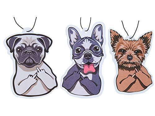 Cute Car Air Fresheners Funny Dog Design Scented with Essential Oils Pack of 3 (Mixed Scents)