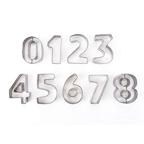 Weiqiao® - Tagliapasta in Acciaio Inox, Numero da 0 a 9 Biscotti, tagliapasta per Biscotti, Cioccolato, 9 Pezzi