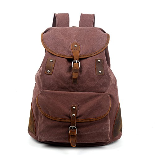 Travel Log Solstice Rucksack echtem Leder und Canvas-Tasche