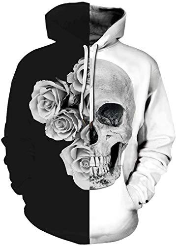OLIPHEE Herren 3D Print Kapuzenpullover Spaß Hoodie Langarm Casual Galaxy Jumper Schwarzweiß Rose Skelett XL