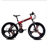 AISHFP Plegable Bicicleta de montaña, Motos de Nieve Playa de Bicicletas, Bicicletas de Doble Disco de Freno, aleación de Aluminio de 24 Pulgadas Llantas,Rojo,21 Speed