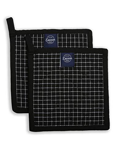 Encasa Homes 8 inch Ofen-Mikrowellen-Topflappen (2er-Set) zum Kochen und Backen in der Küche - hitzebeständig, Schutz der Hände vor heißen Gerätschaften - Metzger-Schecks schwarz