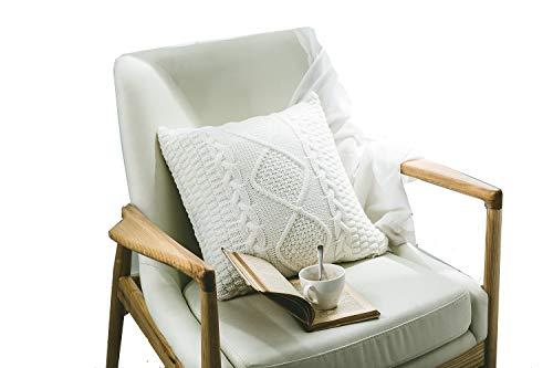 DOKOT Tejido de Punto Soft Decorativa Cuadrado Fundas de Almohada Fundas de Cojín Caso para Sofá Dormitorio Auto 45 x 45 cm Crema