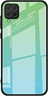 For Samsung Galaxy A12 / M12 Case marble pattern tempered glass Back cover (Green)