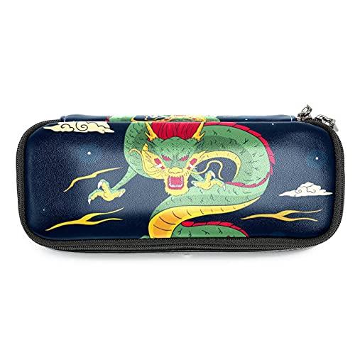 Estuche de Lápices infantil Dragon Chino Estuche escolar Cuero impermeable Bolsa de lápiz Organizador de papelería para niña 19x7.5x3.8cm