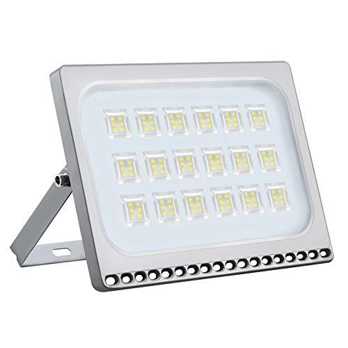 Proyector LED para exteriores, reflector IP67, diseño ultradelgado y ultraligero para jardín, jardín, terraza, cuadrado (Blanco frío, 100W)