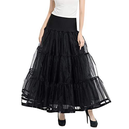 minjiSF Falda para mujer de cintura alta, estilo vintage, con falda en A, plisada, gasa, princesa, de tul, bailes, fiestas, carnaval Negro Talla única