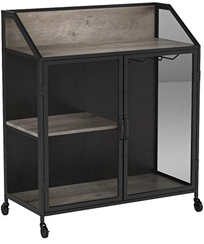 Walker Edison Furniture Company Industrial Wood and Metal Bar Cabinet with Wheels Wine Glass and Bottle Kitchen Storage Shelf, 33 Inch, Gray Wash