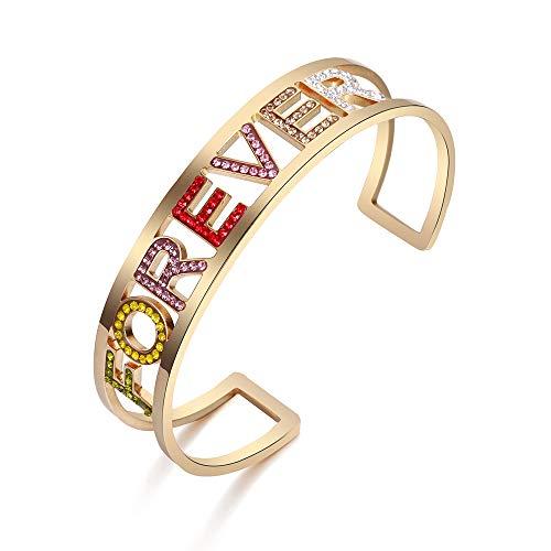 PengJin Jewelry Braccialetto d'Argento del Braccialetto delle Donne stupefacenti, Lettera del Rhinestone di Colore dell'arcobaleno Forever Braccialetto di Nozze dei monili dell'Acciaio Inossidabile