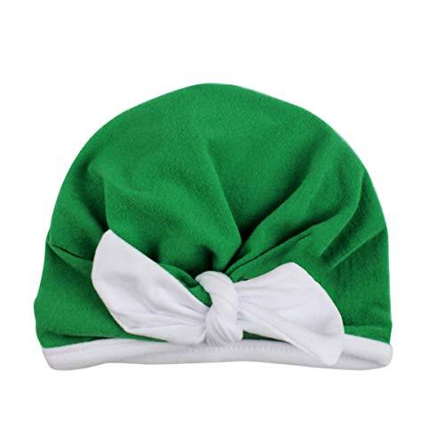 puseky Bonnet bébé fille Turban Inde Bonnet Bownot Bonnet Lapin Oreille Bandeau Bonnet (Color : Green, Size : 0-24M)