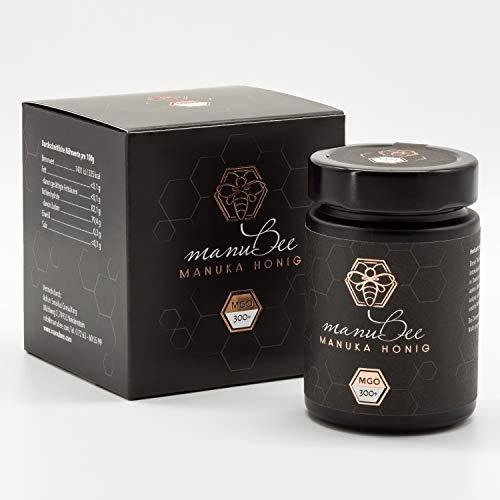 manubee Manuka Honig MGO 300+ 250g in lichtundurchlässiger Glasverpackung - mit Zertifikat über MGO Gehalt & Pollenanalyse