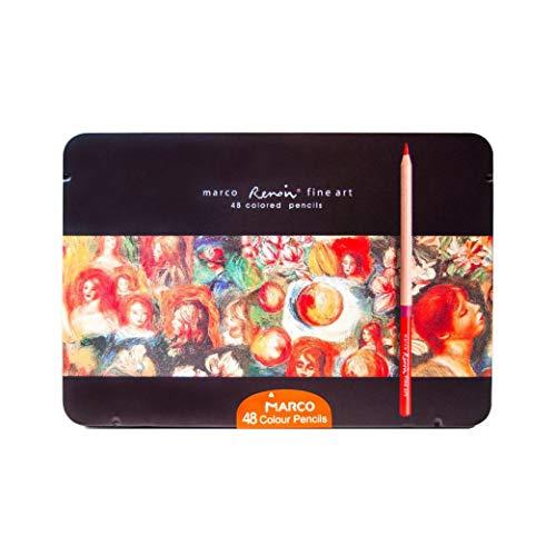 Lápices de colores Marco Renoir Fine Art 48 colores en caja de metal. Extra Liso y Resistente a la rotura - Juego de 48 Colores