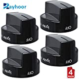 (4 Pack) Rayhoor W10339442 Gas Range Knob Black Replacement Part for Whirlpool Range/Stove/Oven- Replaces WPW10339442, PS3507188