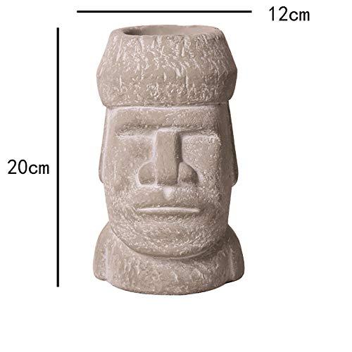 Escultura Decoración Estatuas Figuritas Isla De Pascua Jardín Estatua Yarda Moai Personaje Florero Figuras Muebles para El Hogar Estatua Cemento Maceta Adornos Decorativos