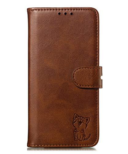 Fatcatparadise Kompatibel mit Motorola Moto G6 Hülle + Displayschutz, Prägung Muster Schutzhülle PU Leder Handyhülle Wallet Case Flip Hülle Brieftasche Ledertasche (Braun)