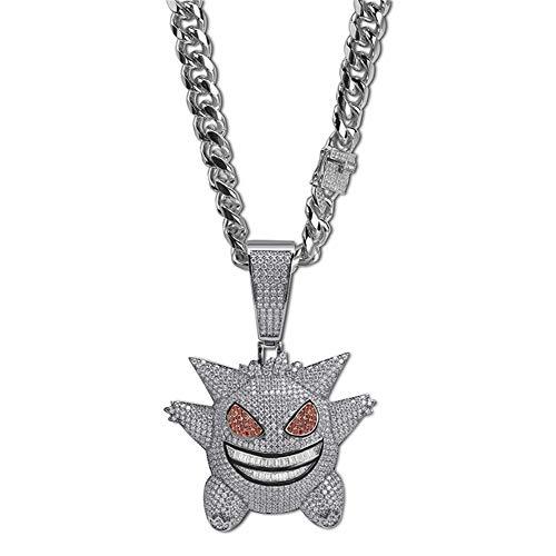 LILIMO Hip Hop Schmuck Maske Gengar Halskette Der Neuen Ankunfts-Pokemon-Anhänger Kubikzircon Kupfer-Halskette Iced Out Kette Herren Geschenk,Silver + 12mm 18in Cuban Chain