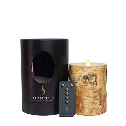 Flameless LED Candle Ready Made Birch Wood 10 cm Diameter x 12 cm Flame in Motion Remote Control + Timer