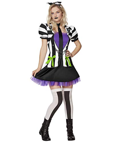 Beetlejuice Official Dress Costume for Adult.dress, headband, tie, pins, and thigh high socks.