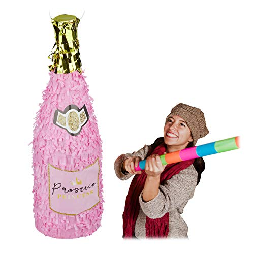 Relaxdays Pinata Sektflasche, Champagner Pinata zum Aufhängen, Geburtstag, Prinzessin, Piñata zum Befüllen, rosa-gold