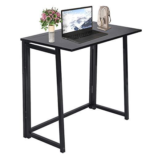 Escritorio pequeño sin ensamblaje para computadora en casa, oficina, mesa plegable, escritorio de estudio, estación de trabajo para oficinas de espacio pequeño (negro)