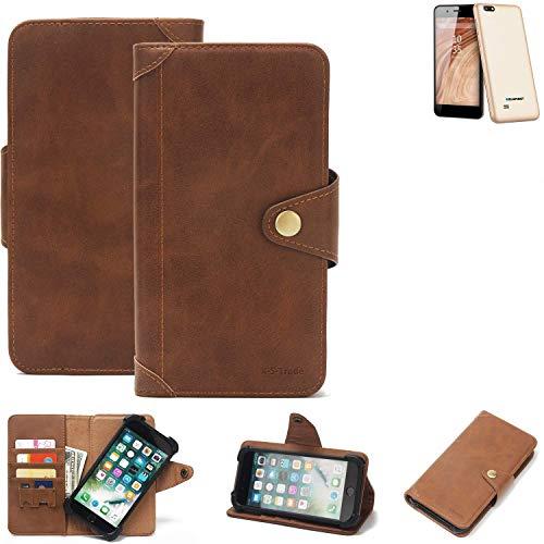 K-S-Trade® Handy-Hülle Für Blaupunkt SL 04 Schutz-Hülle Walletcase Bookstyle Tasche Handyhülle Schutz Case Handytasche Wallet Flipcase Cover PU Braun (1x)