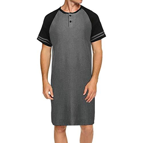 Celucke T Shirts Männer Extra Lang Oversize Shaped Long Tee Rundhalsausschnitt, Herren T-Shirt Mit Grandad-Ausschnitt (Grau,XL)
