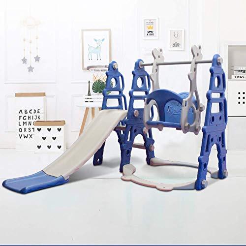 XIAOFEI 2020 Nuevo Modelo Patio Interior 3 En 1 Combinado con TobogáN Canasta Bolas PláStico para NiñOs TobogáN Largo Seguro, Columpio Infantil Tobogan,Azul