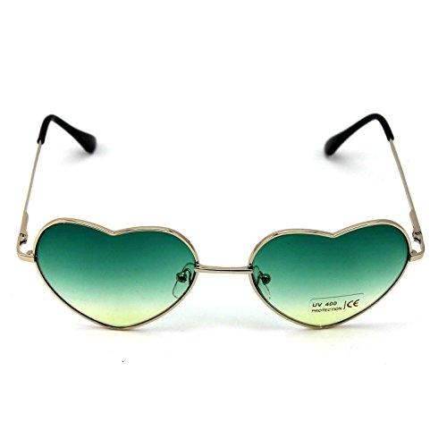 DDU(TM) 1 Stück Grün Damen Metall Sonnenbrillen Nettes Herz-Form-Design Objektiv Outdoor Brillen