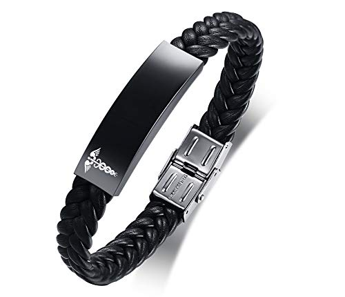 VNOX Personalized Customize Stainless Steel Leather Medical Alert Bracelet...