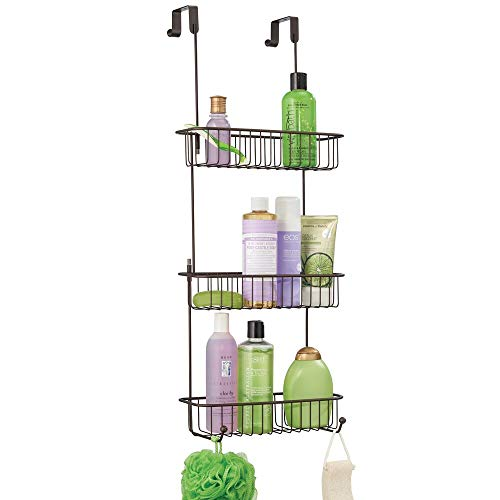 mDesign Extra Large Metal Over Shower Door Caddy Hanging Bathroom Storage Organizer Center with Builtin Hooks and Baskets on 3 Levels for Shampoo Body Wash Loofahs  Bronze