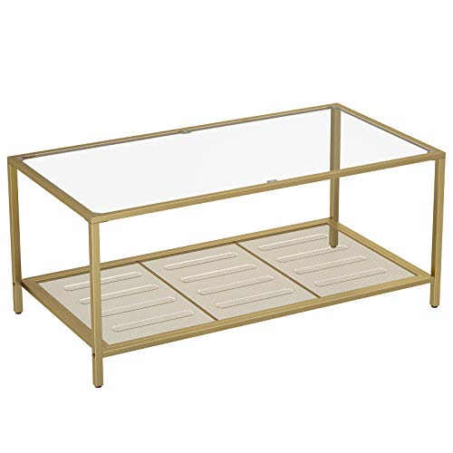 VASAGLE Coffee Table, Cocktail Table with Tempered Glass Top and Mesh Shelf, Stable Steel Frame, for Living Room, Gold and Transparent Color ULGT031A01