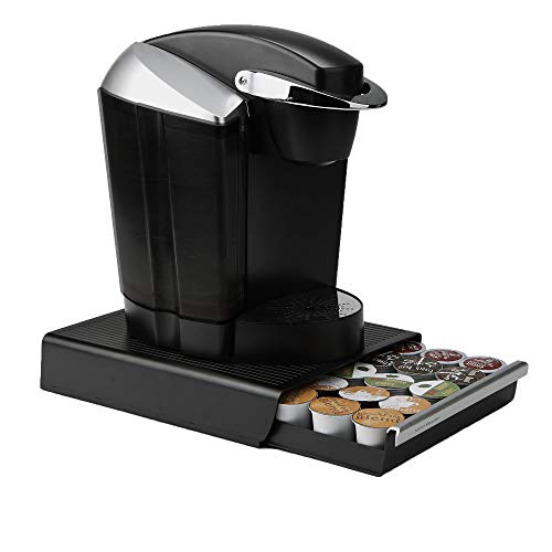 Mind Reader Single Serve Coffee Pod Drawer and Holder, 30 Capacity Coffee Station and Pod Capsule Storage Organizer, Pull Out Tray for Condiments, Coffee Accessories Black, 13.07' L x 9.37' W x 2.5' H