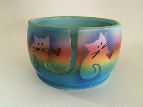 Kitty Cat Yarn Bowl by Award-Winning Artist Judith Stiles. Handmade in USA (Cape Cod). Pottery Knitting & Crochet Bowl, Handmade Durable Pottery. Gift for Knitters, Cat Lovers and Animal Lovers.