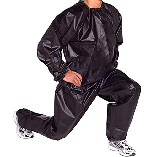 PVC Saunaanzug - Gewichtsverlust Suit Sauna Suit Trainingsanzug Sportanzug Damen Saunaanzüge Schwitzanzug Abnehmen Anti Rip Fitness Trainingsjacke (Color : Black, Size : XXL)