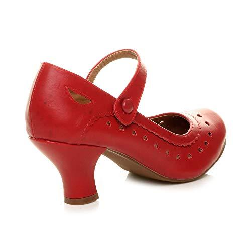 Herzmuster Mary Jane mittlerer Absatz Feinmachen Pumps Schuhe - 5