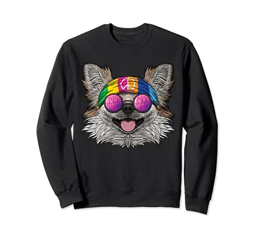 Hippie Chihuahua Love Peace Sign 70s Hippie Dog Sudadera