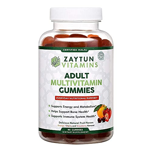 Zaytun Vitamins Halal Adult Multivitamin Gummies for Men, Women, Complete Everyday Nutritional Support with Biotin, Natural Fruit Flavors, Non-GMO, Made in USA - Halal Vitamins