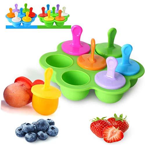 Eisförmchen Popsicle Formen,Eisformen EIS Mini-Silikonform,Eisformen Eis am Stiel Silikon, Mini eisförmchen für Kinder, Babynahrungs-Aufbewahrungsbehälter(Grün)