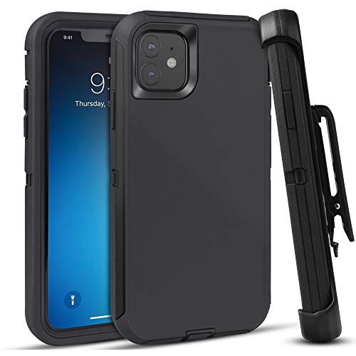 FOGEEK Case for iPhone 11, Heavy Duty Rugged Case, Belt Clip Holster Kickstand Protective Cover [Shockproof] Compatible for iPhone 11 [6.1 Inch] (Black)
