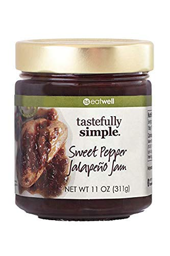 Tastefully Simple Sweet Pepper Jalapeno Jam - Perfect on Burgers, Seafood, Meatloaf, Poultry - 11 oz
