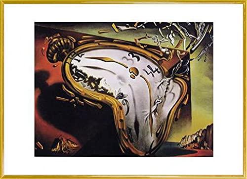 1art1 Salvador Dali Poster Reproduction et Cadre (Plastique) - Montre Molle Au Moment (70 x 50cm)