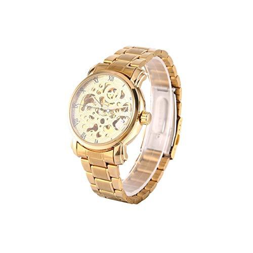 Ganador Relojes mecánicos automáticos Reloj Esqueleto con Espalda Hueca para Hombres de Ballylelly